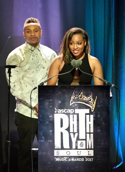BEVERLY HILLS, CA - JUNE 22: Rotimi (L) and ASCAP Associate Director, Moya Nkruma speak onstage at the ASCAP 2017 Rhythm & Soul Music Awards at the Beverly Wilshire Four Seasons Hotel on June 22, 2017 in Beverly Hills, California. (Photo by Earl Gibson III/Getty Images for ASCAP)
