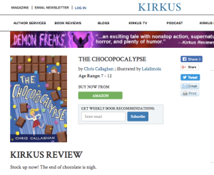 Kirkus Review, Chocopocalypse, Chris Callaghan