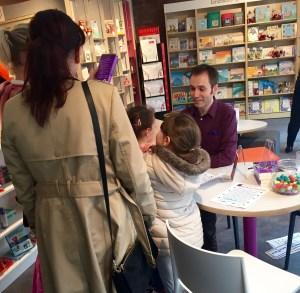 Signing copies in Seven Stories Bookshop
