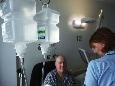 Man receiving chemotherapy