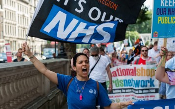 Very unhappy NHS staff marching