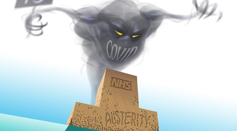 Covid genie showing problems of health austerity.