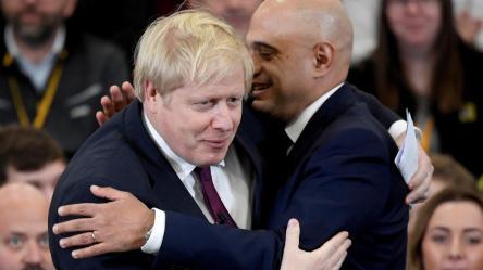 """Boris Johnson and Sajid Javid. """"Of course they believe us Boris!"""""""