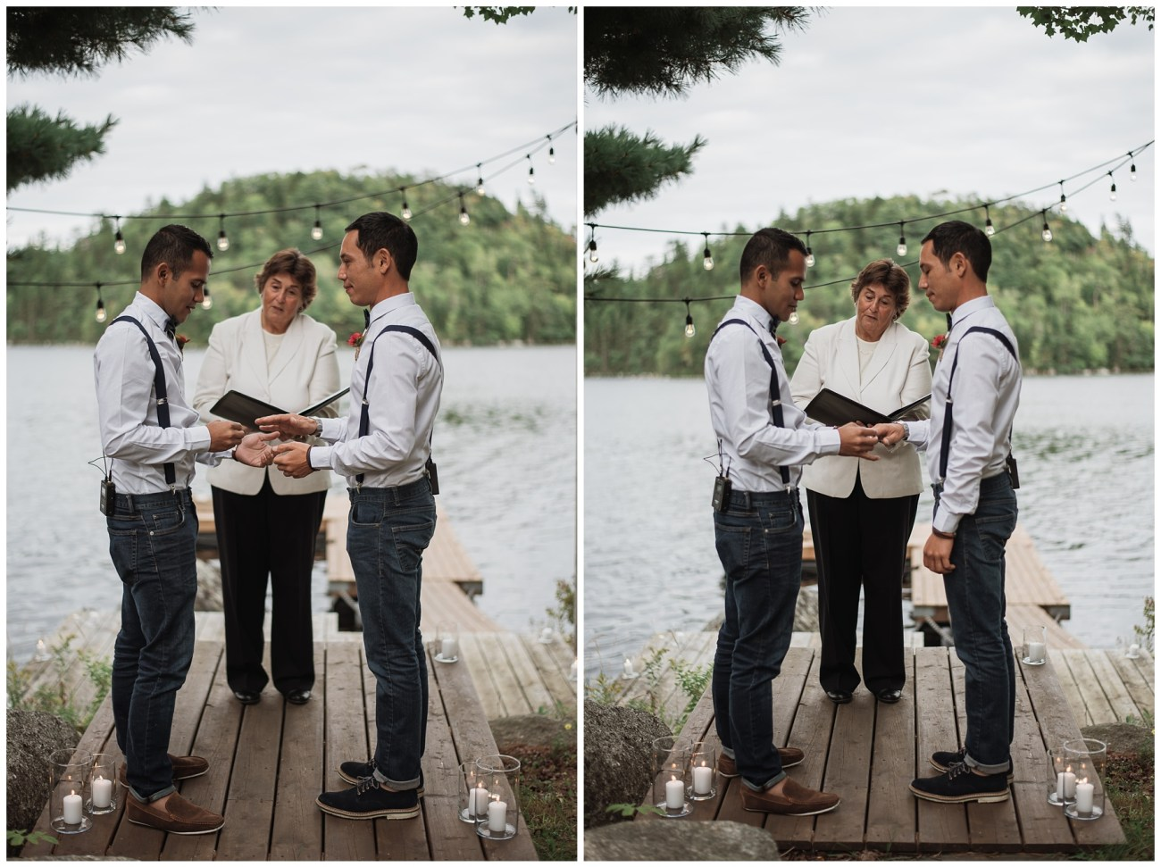 ceremony at a backyard wedding in Porters Lake, Nova Scotia