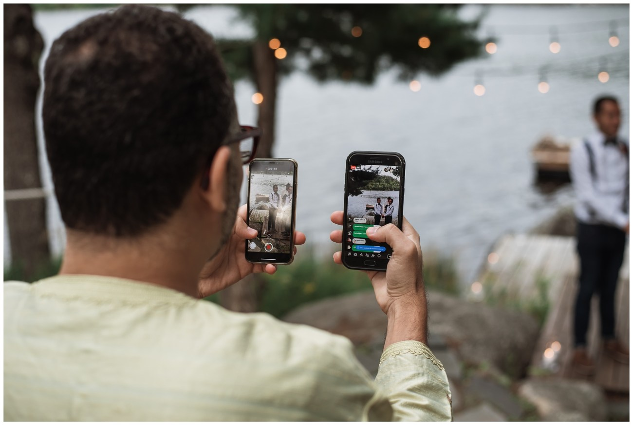 FaceTiming ceremony at a backyard wedding in Porters Lake, Nova Scotia