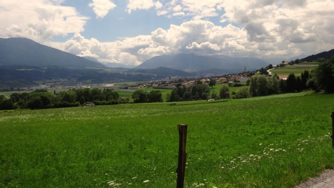 Looking Southwest across the Inn valley from Thaur in Tirol, towards Innsbruck and the Stubai alps