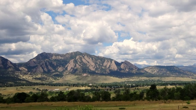 Looking at the Flatirons and the Rocky Mountain foothills