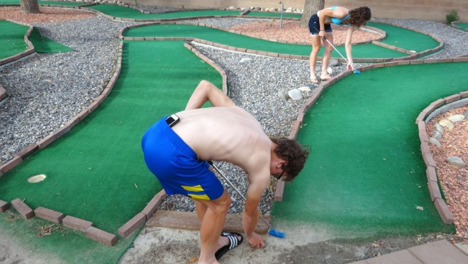 We wasted time on Saturday with some competitive minigolf