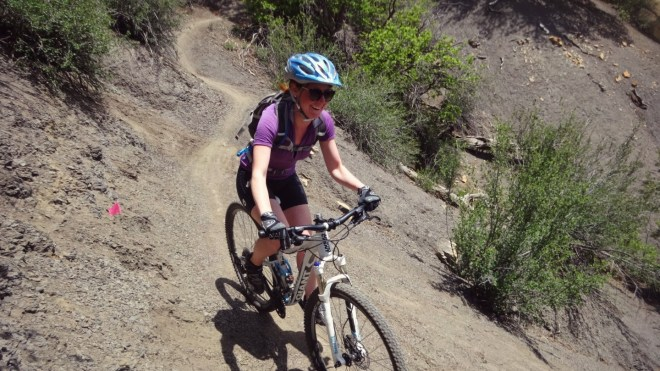 Laura riding the Hogsfoot trail in Overend Park, Durango
