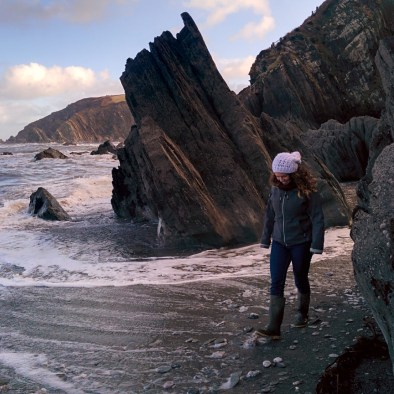 January: on the beach in Devon with Christa