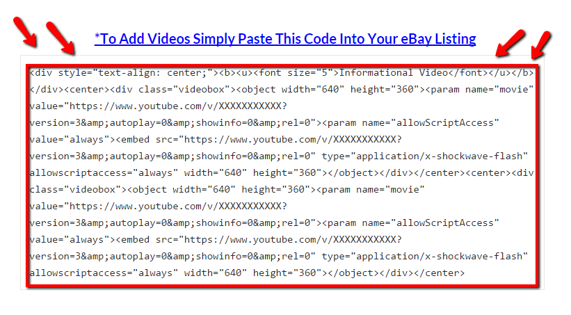 How To Add A Video To eBay – Old Embed Code Provided