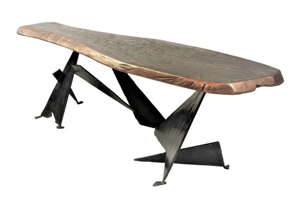 Bronze coffee table by Chris Bose. The Shard combines a beautiful bronze finished irregular oak top and industrial inspired shard legs with a blackened steel finish.