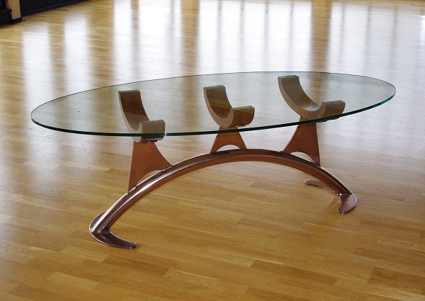 Luxury glass coffee table The Bone by Chris Bose