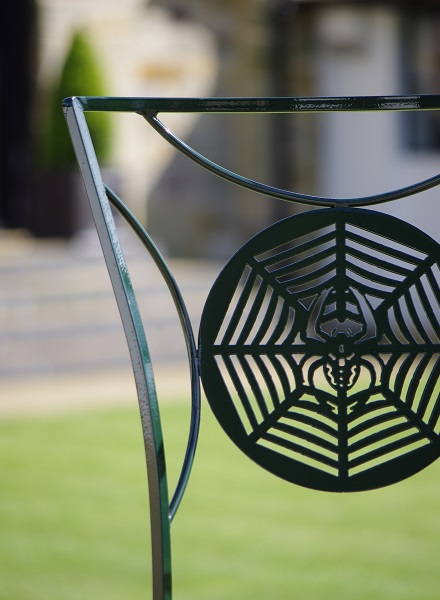 Metal garden furniture chair detail