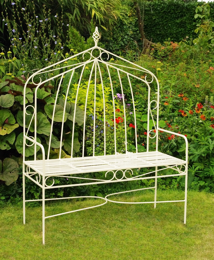 High backed gothic metal bench