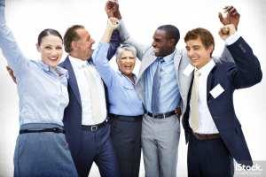 Business team enjoying victory