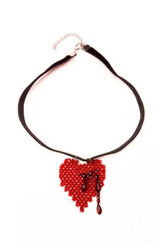 Red Bleeding Heart Pendant Necklace | Blood-Drenched Lace Collection by ChrisCrafting