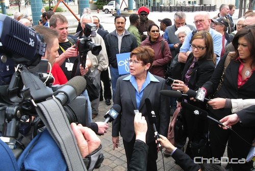 Mayoral candidate Judy Wasylycia-Leis speaks to media at The Forks following her first news conference as a candidate in the civic election on May 4, 2010. (WPGCAMERAMAN / CHRISD.CA)