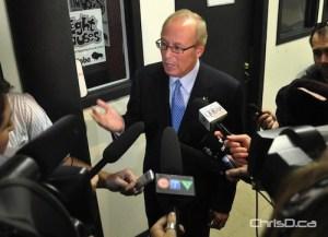 Winnipeg Mayor Sam Katz speaks to reporters following a news conference at the Broadway Neighbourhood Centre on Tuesday, October 5, 2010. (MAURICE BRUNEAU / CHRISD.CA)