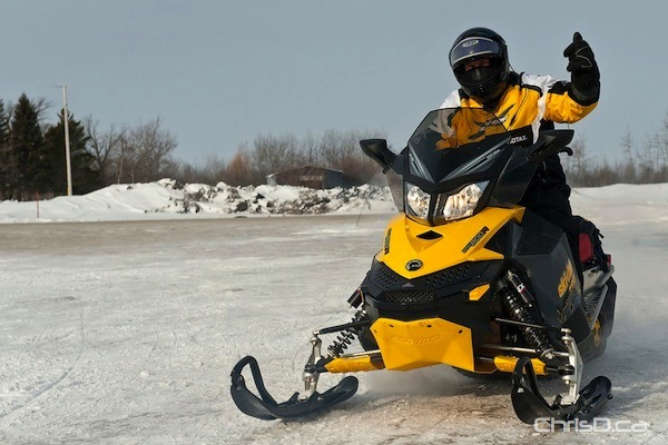 A snowmobiler gets ready to hit the trail in the 4th annual Sled for Eternity in Beausejour on Saturday, February 19, 2011. (TED GRANT / CHRISD.CA)