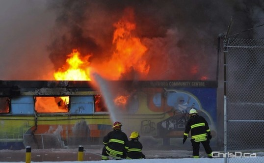 Firefighters battle flames at the East Elmwood Community Centre on Wednesday, March 9, 2011. (MAURICE BRUNEAU / CHRISD.CA)