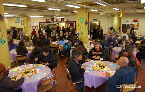 Members of Winnipeg's homeless community enjoy a prepared Easter dinner at Siloam Mission on Friday, April 22, 2011. (HANDOUT)