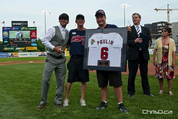The Winnipeg Goldeyes retired Max Poulin's number on Tuesday, June 14, 2011 in front of a packed Shaw Park. Poulin spent eight years with the team. (TED GRANT / CHRISD.CA)