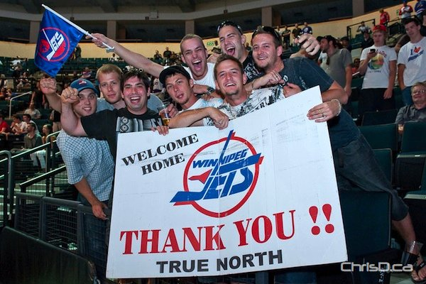 Fans welcome back the Winnipeg Jets during an NHL Draft Party at MTS Centre on Friday, June 24, 2011. (TED GRANT / CHRISD.CA)
