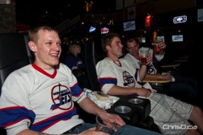 "Fans gather at 4Play Sports Bar on Portage Avenue Friday, June 3, 2011 to celebrate the NHL's return to Winnipeg at the ""Mission: Accomplished"" party. Proceeds from the event will help send underprivileged children to see the yet-to-be-named team at MTS Centre. (TED GRANT / CHRISD.CA)"