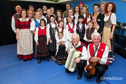 Volunteers, dancers and ambassadors with Folklorama's Scandinavian Pavilion at the Scandinavian Cultural Centre, 764 Erin Street. (TED GRANT / CHRISD.CA)