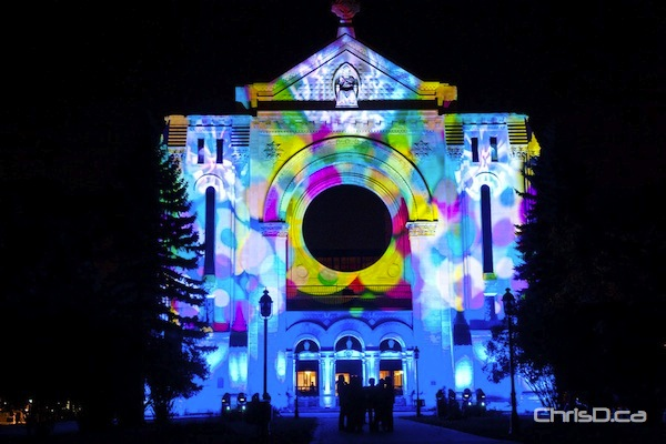 The St. Boniface Cathedral is beautifully illuminated in a rainbow of colours for the Culture Days festival 'Nuit Blanche' in 2011. (TED GRANT / CHRISD.CA FILE)