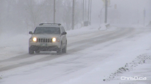 Road conditions were treacherous and visibility was reduced on Highway 75 south of Winnipeg on Sunday. (CHRISD.CA)