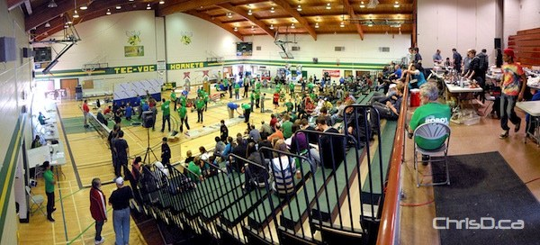 Youth compete in the annual Manitoba Robot Games event at Tec Voc High School on Saturday, March 17, 2012. (STAN MILOSEVIC / MANITOBAPHOTOS.COM)