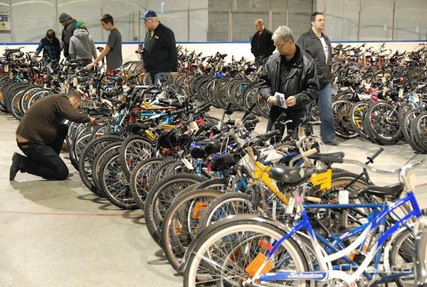 More than 700 unclaimed bicycles will be up for auction this weekend at the Varsity View Sportsplex. (STAN MILOSEVIC / CHRISD.CA FILE)