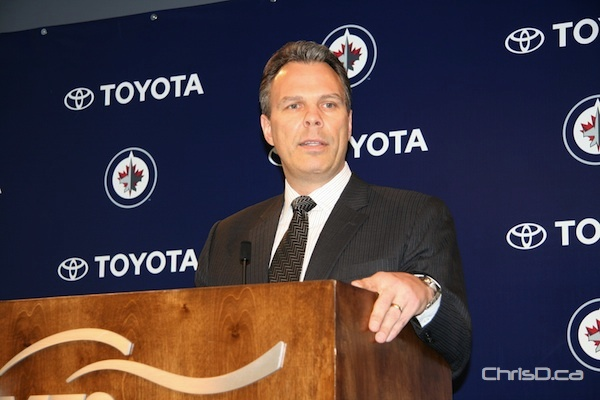 Winnipeg Jets' general manager Kevin Cheveldayoff addresses the media on Tuesday, April 10, 2012. (DARRIN BAUMING / CHRISD.CA)