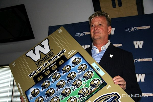 Garth Buchko, president and CEO of the Winnipeg Blue Bombers, unveils the Winnipeg Blue Bomber Scratch Lottery on Wednesday, May 9, 2012. (DARRIN BAUMING / CHRISD.CA)