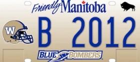 Winnipeg Blue Bomber Licence Plate