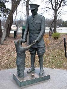 Lt. Harry Colebourn and Winnie the Bear statue inside Assiniboine Park Zoo (CITY OF WINNIPEG ARCHIVES)
