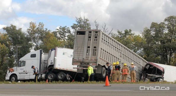 Two semi-trailer trucks were involved in an accident on Highway 1 west of Winnipeg on Thursday, September 6, 2012. (STAN MILOSEVIC / CHRISD.CA)