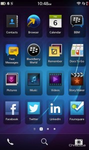 BlackBerry Z10 Home Screen