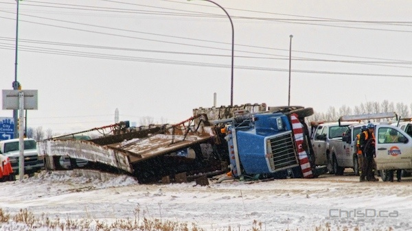 Semi-Trailer Truck Rollover - Highway 6