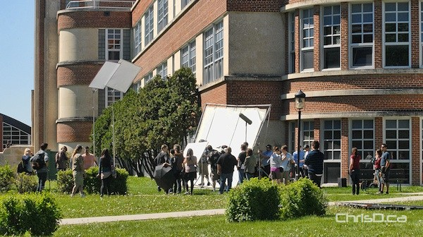 Film crews shoot a scene for the upcoming movie 'Strings' at Tec Voc High School on Tuesday, June 11, 2013. (STAN MILOSEVIC / CHRISD.CA)