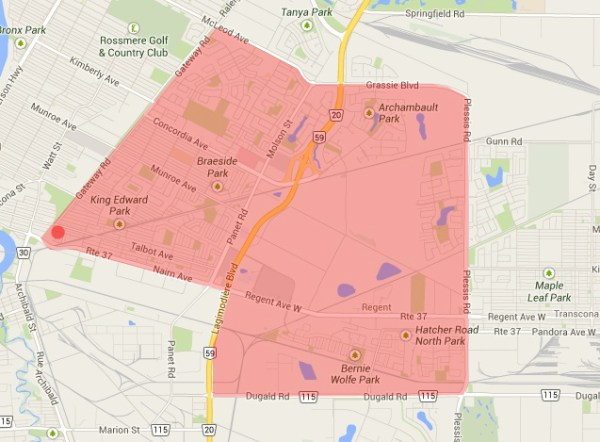 Residents in the shaded area may experience brown water this week, said the City of Winnipeg. (GOOGLE MAPS/ILLUSTRATION)