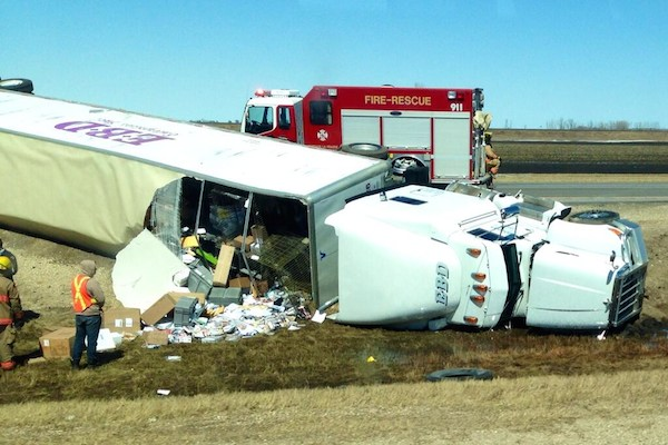 Flipped Semi-Trailer Truck