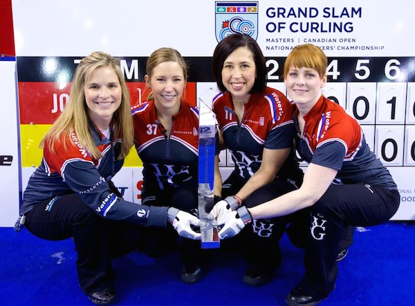 Team Jennifer Jones after winning the Players' Championship in Summerside, PEI on Sunday, April 20, 2014. (SPORTSNET)