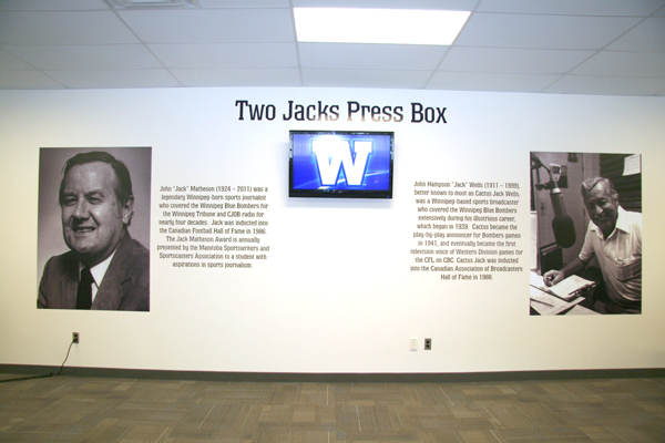 The dedication in the new Two Jacks media box at Investors Group Field. (Darrin Bauming/ChrisD.ca)