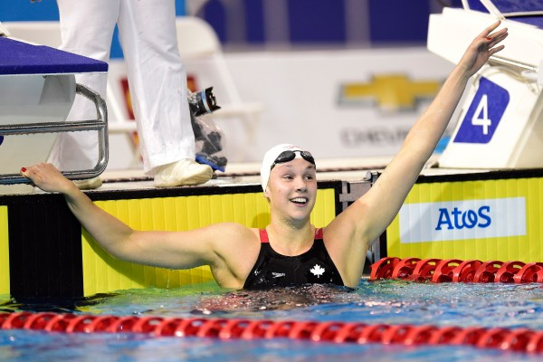 Chantal Van Landeghem reacts after winning the women's 100m freestyle swimming event at the 2015 Pan Am Games in Toronto on Tuesday, July 14, 2015. (THE CANADIAN PRESS/Frank Gunn)