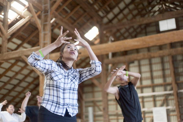 Cheyanne Flett of St. Theresa Point First Nations, Man., practices a dance for the Outside Looking In program at the Tim Horton Onondaga Farms in St. George, Ont. on Thursday, May 12, 2016. Outside Looking In is an accreditated dance program specifically for Indigenous youths from various reserves from Ontario and Manitoba. THE CANADIAN PRESS/Hannah Yoon