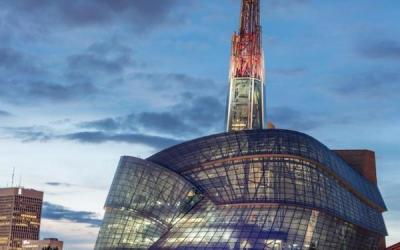 CMHR Turning Tower Red for Remembrance Day