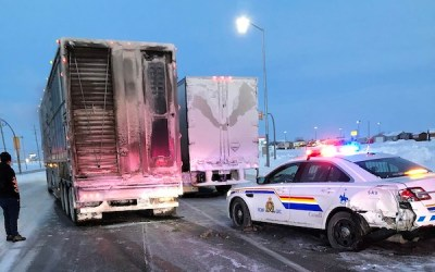 RCMP Cruiser Struck by Semi After Officer Stops at Crash Scene